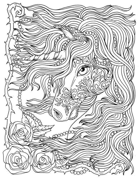 Unicorns Coloring Sheets - Coloring the unicorn's anti-stress